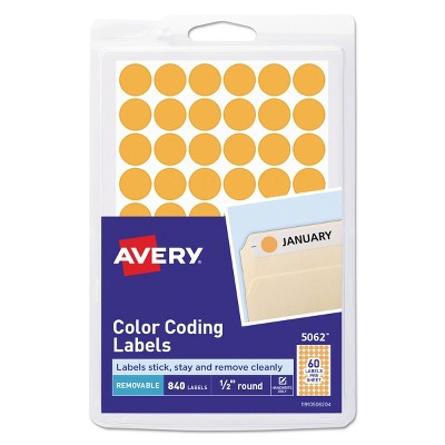 """Avery Handwrite Only Removable Round Color-Coding Labels 1/2"""" dia Neon Orange 840/PK 05062"""