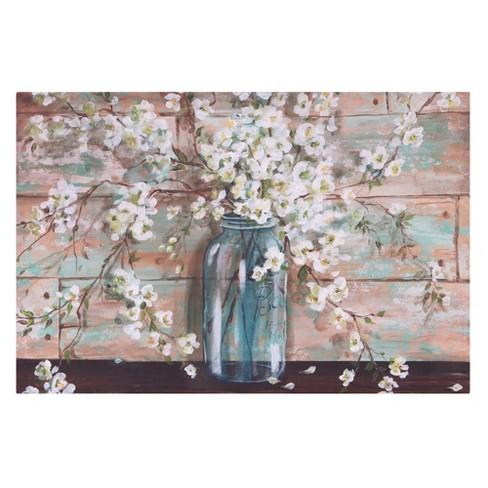 24 X36 Blooms In Mason Jar Floral Canvas Art Light Blue Patton Wall Decor Target