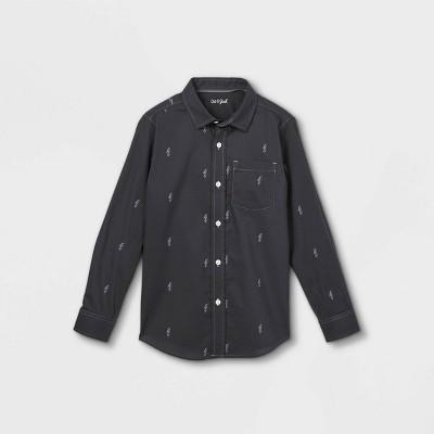 Boys' Button-Down Stretch Woven Long Sleeve Shirt - Cat & Jack™