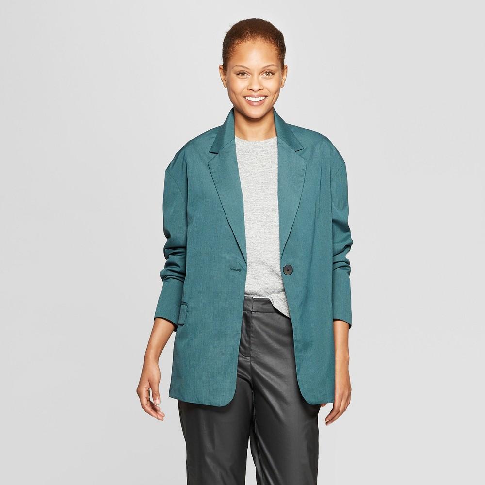 Women's Plaid Long Sleeve Oversized Slouchy Blazer - Prologue Green Xxl