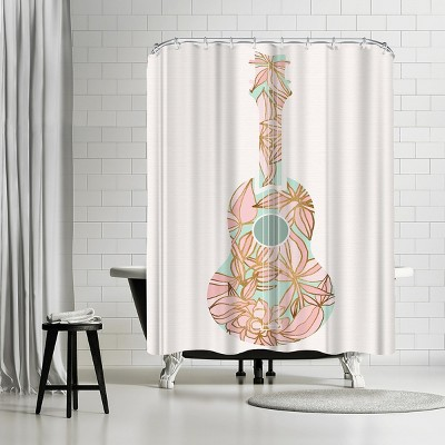 """Americanflat Golden Ukulele by Modern Tropical 71"""" x 74"""" Shower Curtain"""