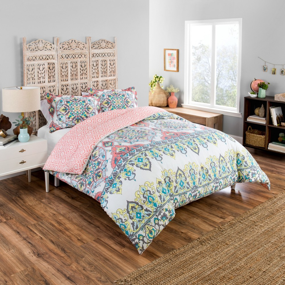 Coral Rozella Reversible Comforter Set (King) 3pc - Boho Boutique, Pink