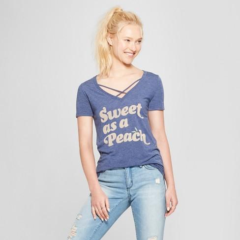 e70d92d9f Women's Short Sleeve Sweet As A Peach Graphic T-Shirt - Awake Navy ...
