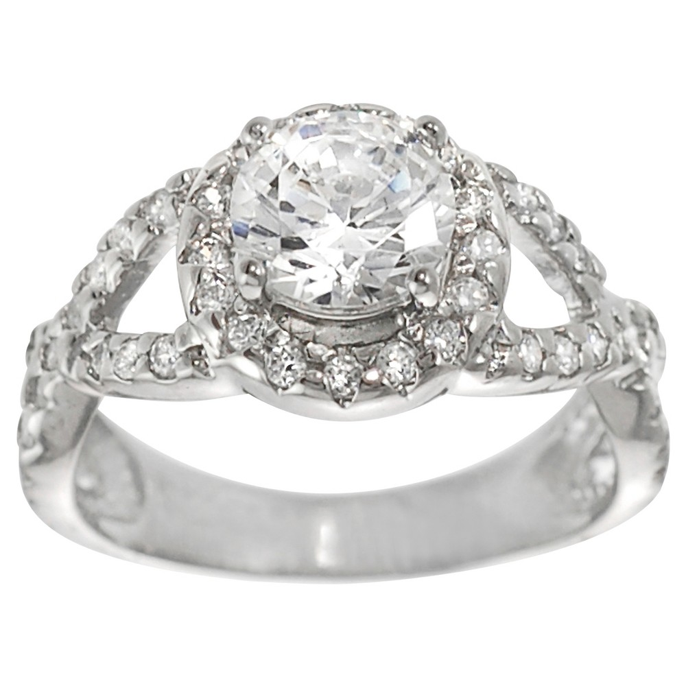 7/8 CT. T.W. Round-cut CZ Prong Set Engagement Ring in Sterling Silver - Silver, 7, Girl's