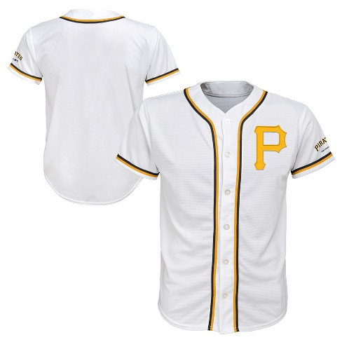 low priced 34f3b 0b4a5 Pittsburgh Pirates Boys' Short Sleeve Button-Down Jersey - White S