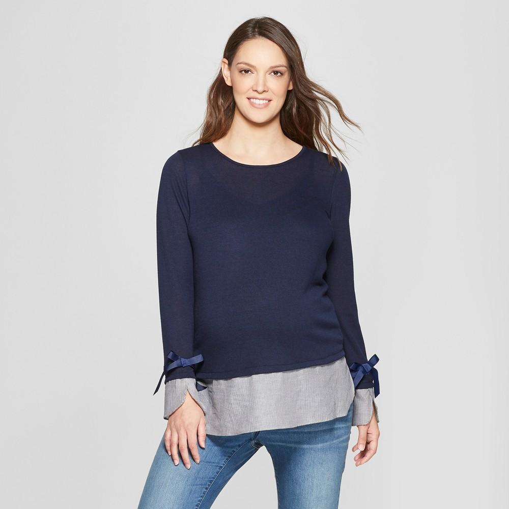 Maternity Long Sleeve Layered Ribbon Trim Sweaterknit Top - MaCherie - Navy XL, Women's, Blue