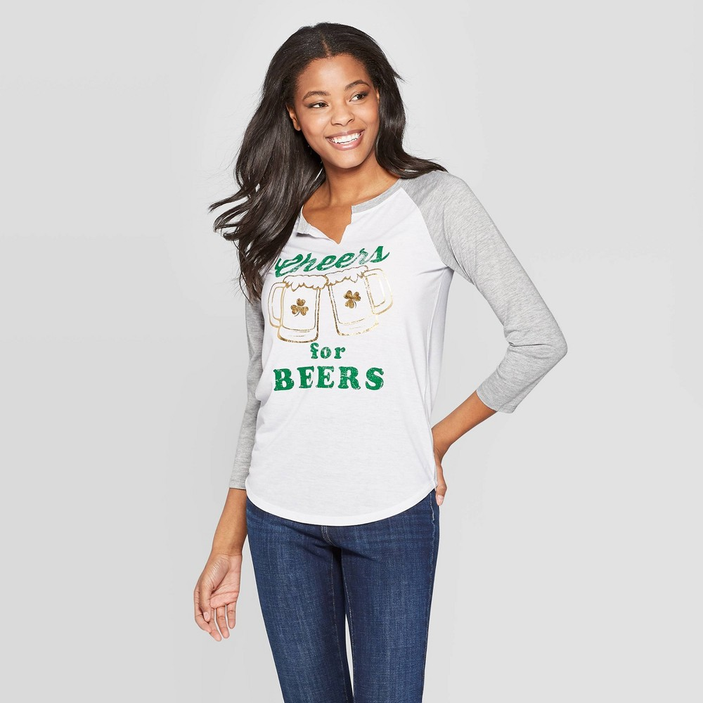 Women's 3/4 Sleeve Cheers for Beers Raglan Graphic T-Shirt - Grayson Threads (Juniors') - White L