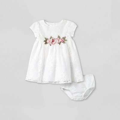 Baby Girls' Mia & Mimi Lace Dress - White 3-6M