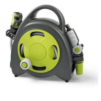 GF Garden Aquabag Mini Portable Hose and Reel - Max. 58 psi, 38 ft. Retractable Hose Line - Lime - G.F. Garden