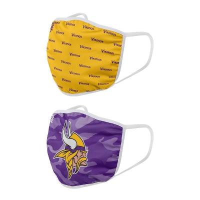NFL Minnesota Vikings Adult Face Covering 2pk