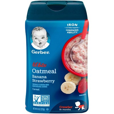 Gerber Lil' Bits Oatmeal Banana Strawberry Baby Cereal - 8oz