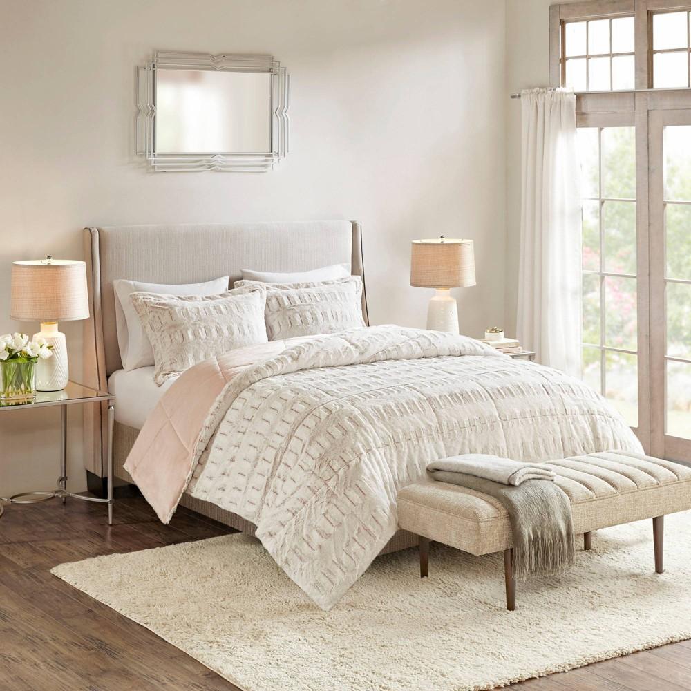 Image of Margot Twin/Twin Extra Long 2pc Print Long Faux Fur Comforter Mini Set Blush