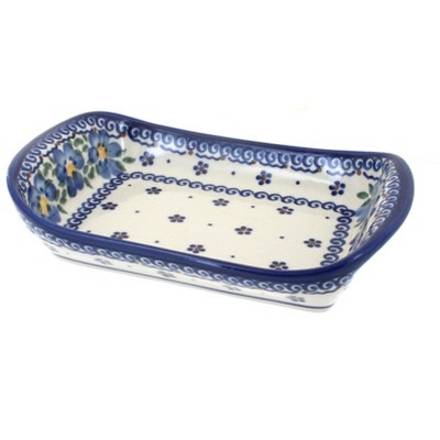 Blue Rose Polish Pottery Spring Blossom Small Rectangular Tray with Handles