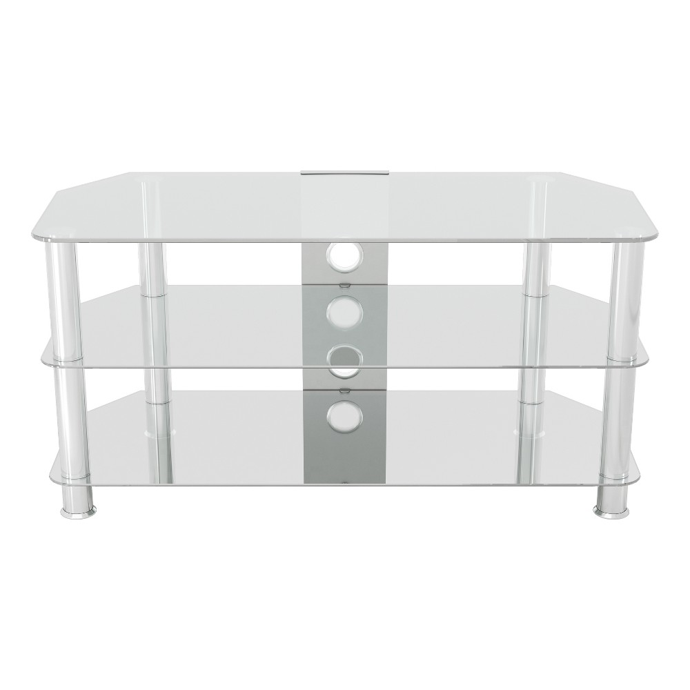 "Image of ""50"""" TV Stand with Cable Management - Silver/Clear"""