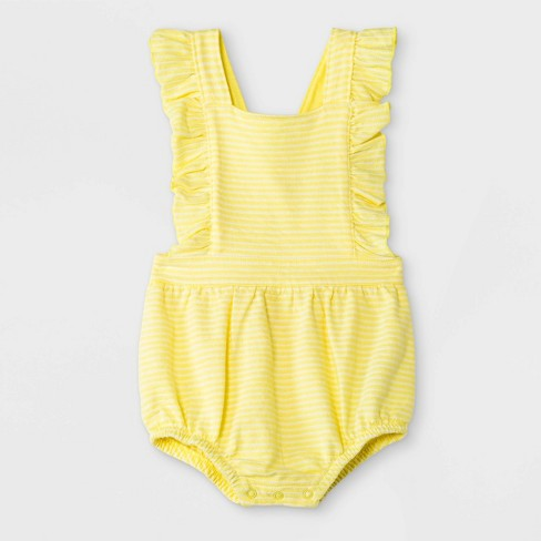 Baby Girls' Texture Knit Ruffle Romper - Cat & Jack™ Yellow - image 1 of 2