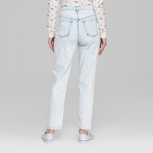 29a4435bbb34 Women s Striped High-Rise Bleached Railroad Mom Jeans - Wild Fable™ Blue    Target
