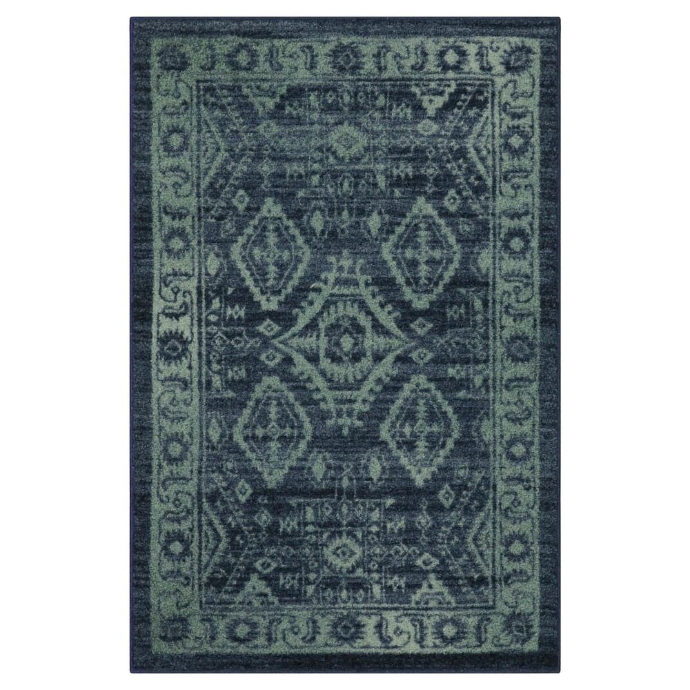 """Image of """"2'6""""""""X3'10"""""""" Tribal Design Tufted Accent Rug Navy - Maples"""""""