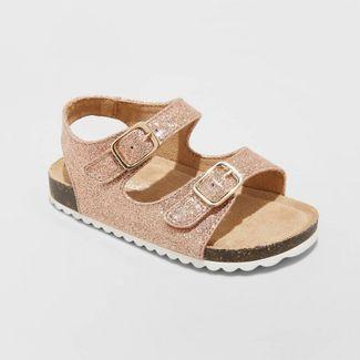 Toddler Girls' Tisha Footbed Sandals - Cat & Jack™ Rose Gold 10