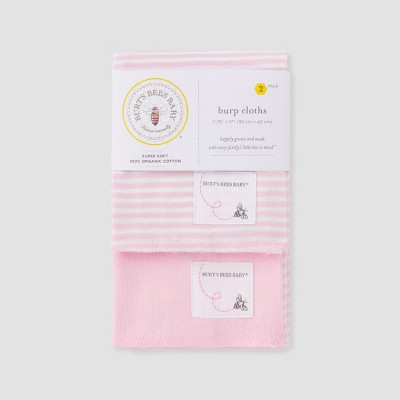 Burt's Bees Baby® Girls' Organic Cotton 2pk Burp Cloth Set - Blossom