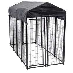 Lucky Dog 8' x 4' x 6' Welded Wire Outdoor Dog Kennel with Heavy Duty Cover