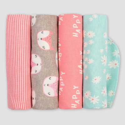 Gerber Baby Girls' 4pk Fox Flannel Receiving Blankets - Coral/Green/Light Brown