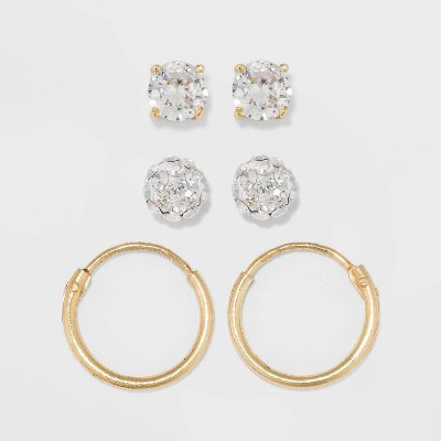 Gold Over Sterling Silver Earring Set 3ct - A New Day™ Clear