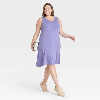 Women's Plus Size Sleeveless Knit Swing Dress - Ava & Viv™