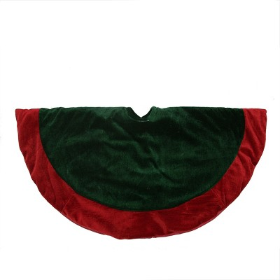 "Northlight 26"" Traditional Green and Red Velveteen Christmas Tree Skirt"
