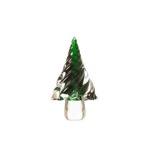 "8"" Medium Glass Tabletop Christmas Tree Green - Glitzhome - image 1 of 1"