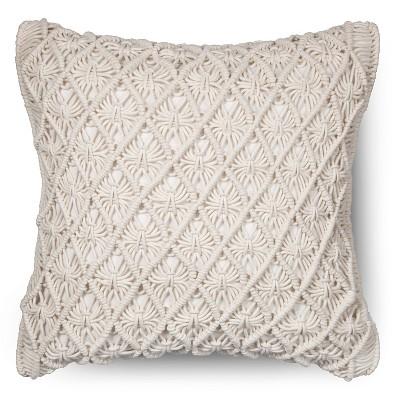 Macrame Throw Pillow Cream - Threshold™