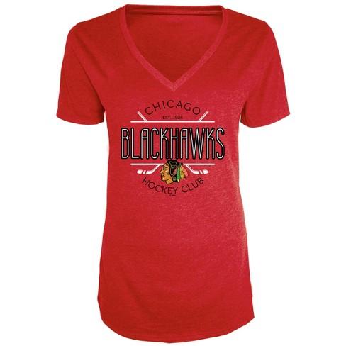 NHL Chicago Blackhawks Women s Blade V-Neck T-Shirt   Target 23298e005