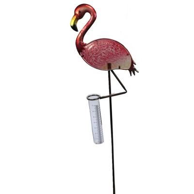 "Home & Garden 36.0"" Flamingo Rain Gauge Stake Measures Yard Decor Regal Art & Gift  -  Decorative Garden Stakes"