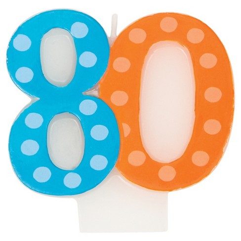 Bright And Bold 80th Birthday Candle - image 1 of 2