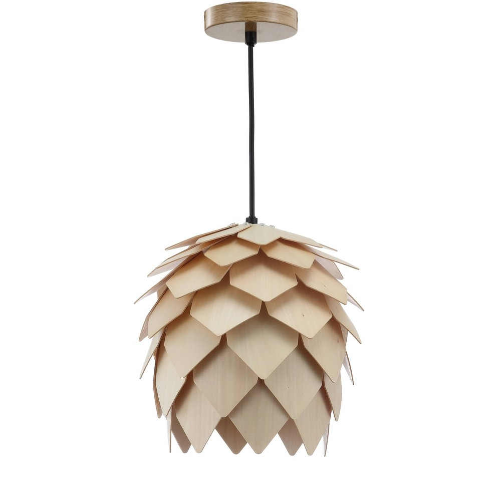 "Image of ""11.75"""" Simon Pinecone Wood LED Pendant Natural (Includes Energy Efficient Light Bulb) - JONATHAN Y"""