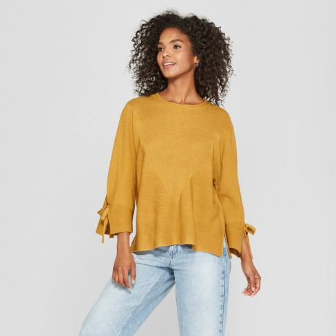 Women's Long Tie Bell Sleeve Sweater - Cliche Yellow - image 1 of 2