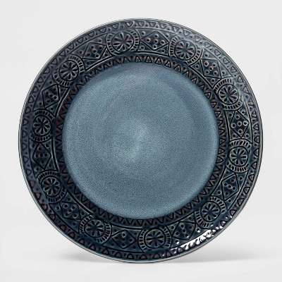 10.6  Ceramic Kingfield Debossed Dinner Plate Blue - Threshold™
