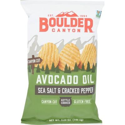 Boulder Avocado Oil Canyon Cut Seasalt and Cracked Pepper Potato Chips 5.25oz 12 pk