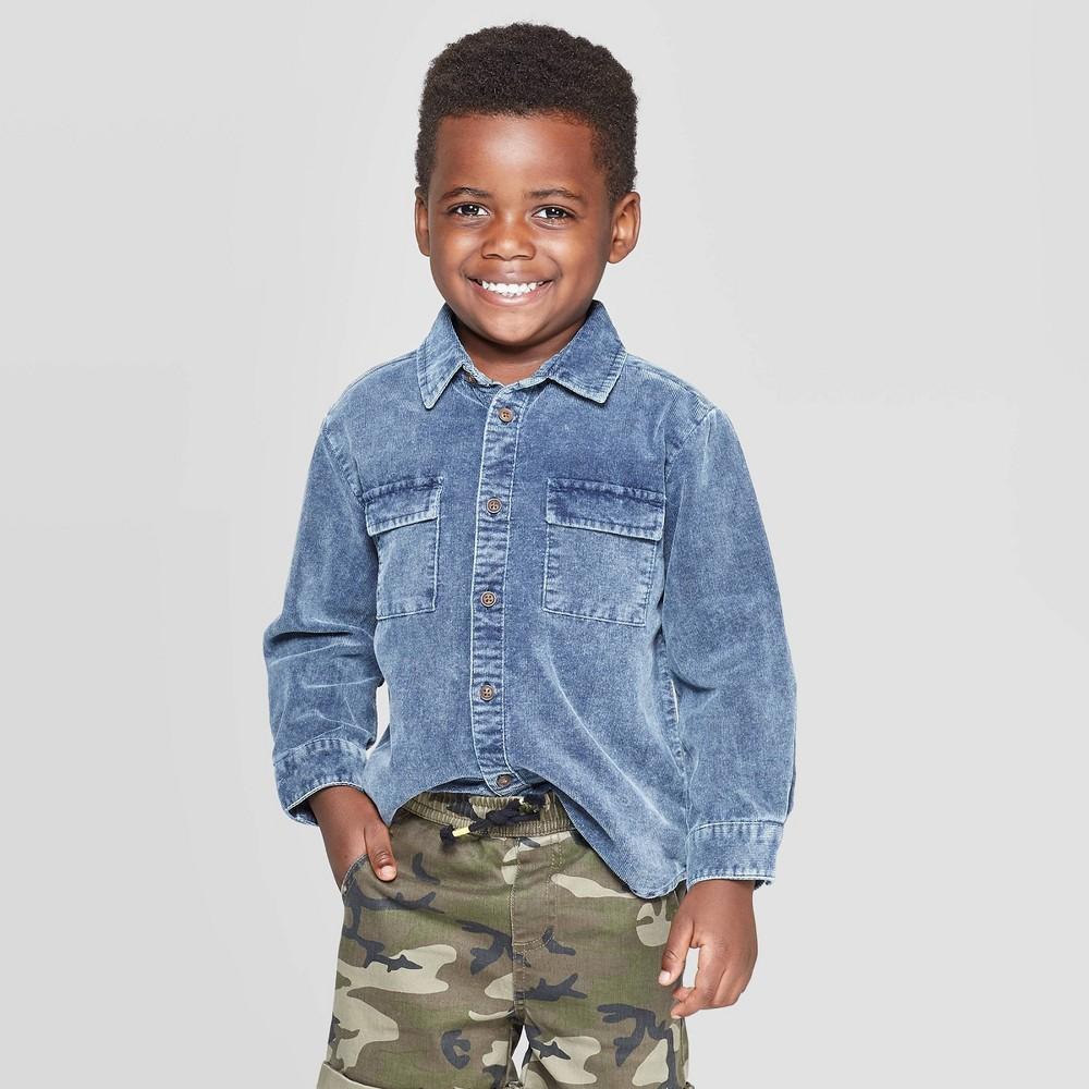 Toddler Boys' Long Sleeve Corduroy Button-Down Shirt – art class Blue 12M, Boy's