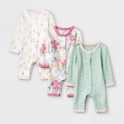 Baby Girls' Meadow Pajama Romper - Cloud Island™ White Preemie
