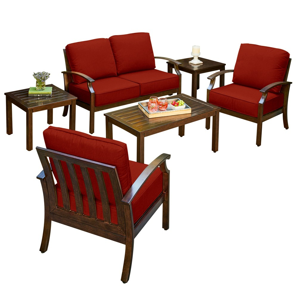 6pc Bridgeport Cushion Conversation Seating Set Red - Royal Garden