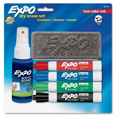 6ct Dry Erase Starter Set with Markers, Cleaner, Eraser-EXPO -Red/Black/Blue/Green