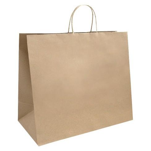 Large Kraft Chevron Gift Bag - Spritz™ - image 1 of 2
