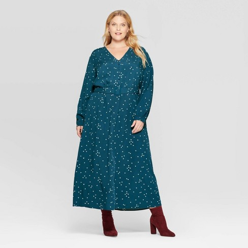 Women\'s Plus Size Polka Dot Long Sleeve V-Neck Button Front Maxi Dress -  Ava & Viv™ Navy