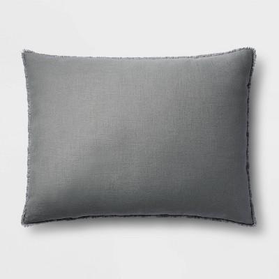 King Euro Heavyweight Linen Blend Throw Pillow Dark Gray - Casaluna™