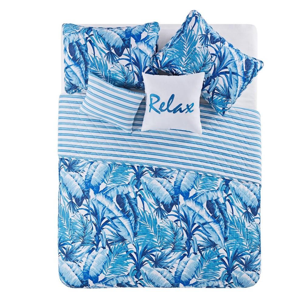 King 5pc Blue Tropical Quilt Set Blue - Vcny Home