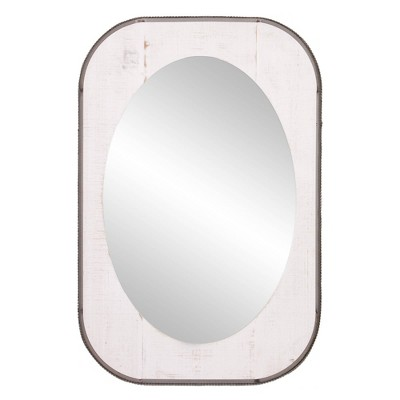"24"" x 36"" Oval Farmhouse and Galvanized Accent Wall Mirror Wood/Metal/Off White - Patton Wall Decor"