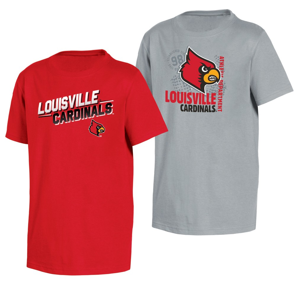 Louisville Cardinals Double Trouble Toddler Short Sleeve 2pk T-Shirts 3T, Toddler Boy's, Multicolored