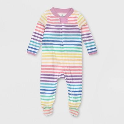 Honest Baby Girls' Organic Cotton Rainbow Striped Sleep N' Play - Pink 0-3M