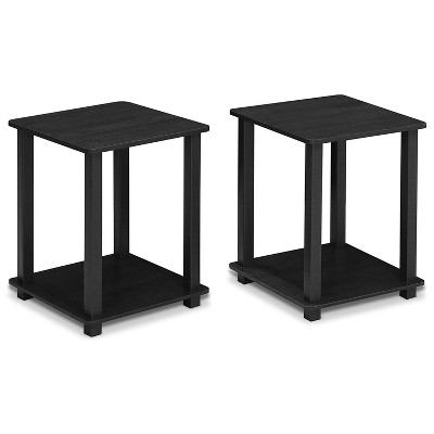 Furinno Furniture Simplistic Wooden Sturdy Square Flat Top Indoor Home Decor End Tables for Bedrooms and Living Rooms, Black (2 Pack)
