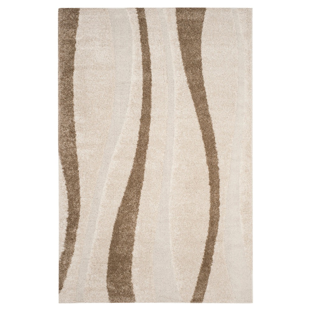 Cream/Dark Brown Abstract Tufted Area Rug - (6'X9') - Safavieh, Ivory/Dark Brown